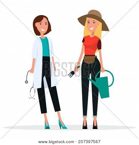 Doctor in white coat and gardener in brown hat, vector illustration. Grower holds garden fork and water can. Internist with medical stethoscope