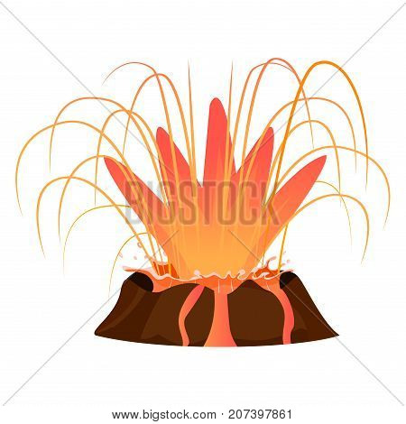 Massive volcanic eruption isolated on white background. Big hot burning lava splash vector illustration. Deep muzzle of active volcano close up. Dangerous and rare natural phenomenon flat style