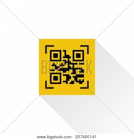 QR code flat icon isolated on white background with long shadow. Vector illustration flat style design. Template for encrypted information. Identification product. Technology binary.