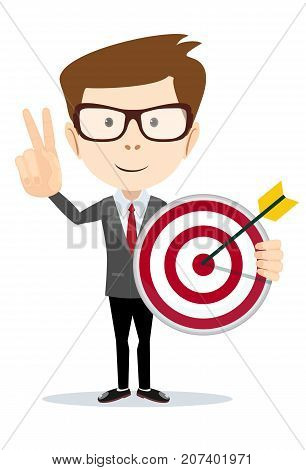 Cartoon business man holding a dart board with a direct hit on target. Concept of personal coaching success. Vector illustration flat style. Success business concept