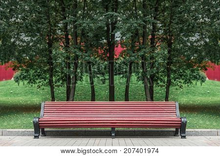 Empty space of long red bench in park with background of green trees and their shadow on green grass.