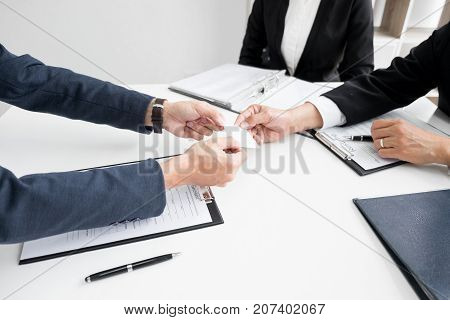 Young Businessman At The Hiring Interview In The Office, Meeting At Office Lobby, Changing Business
