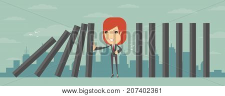 domino effect and problem solving. Stock flat vector illustration.