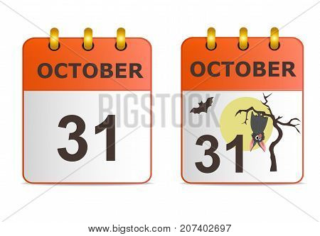 Halloween on icons of calendar in different versions. Date on calendar sheet October 31. Grey bat hanging on dry tree on background of full moon. Stylish, succinct vector illustration.