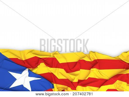 Catalonia flag on white background with clipping path. 3D illustration