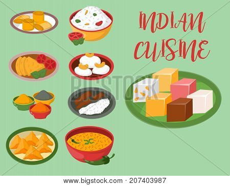 Indian chicken jalfrezi with rice and vegetable curry. Various spice chicken restaurant healthy cuisine food. Aroma anise recipe group ingredient vector.