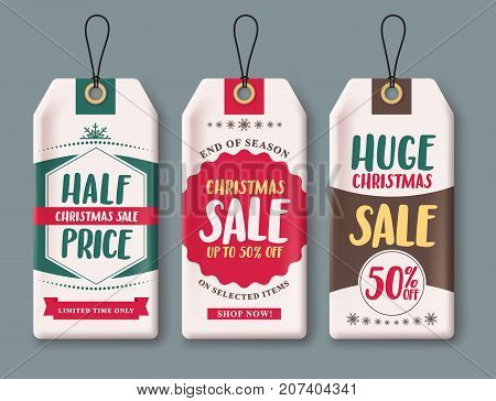 Sale tags vector set and labels for Christmas season hanging  in white paper with discount text like half price, huge sale and 50% off. Vector illustration.