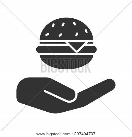 Open hand with hamburger glyph icon. Silhouette symbol. Cheeseburger for free. Negative space. Vector isolated illustration