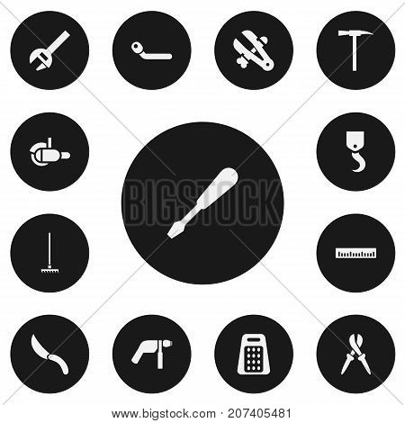 Set Of 13 Editable Instrument Icons. Includes Symbols Such As Rake, Measure, Pliers And More