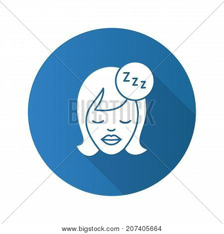 Sleeping woman flat design long shadow glyph icon. Woman's face with closed eyes and zzz symbol. Vector silhouette illustration