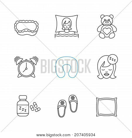 Sleeping accessories linear icons set. Thin line contour symbols. Sleeping women, mask, teddy bear, alarm clock, pillows, soporific, bedroom slippers. Isolated vector outline illustrations