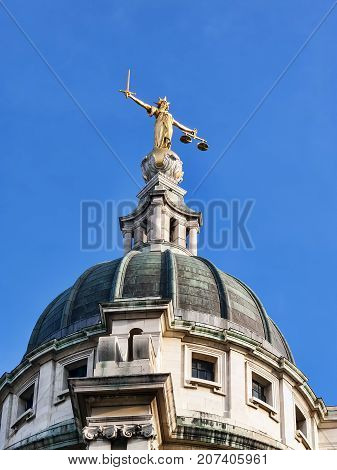 London, UK, September 27, 2009 :  Scales of Justice of the Central Criminal Court fondly known as the Old Bailey