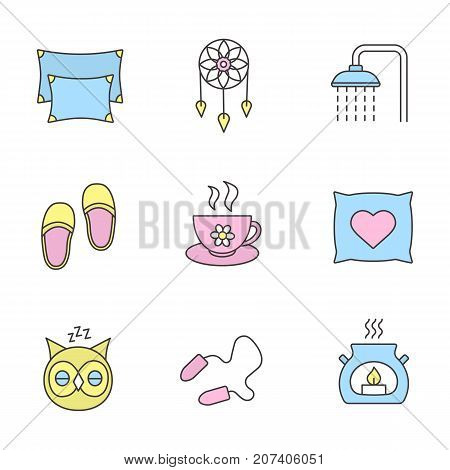 Sleeping accessories color icons set. Pillows, dreamcatcher, shower faucet, herbal teacup, sleeping owl, earplugs, aroma candle. Isolated vector illustrations