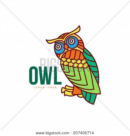 wise hand drawn colored sitting wise owl closeup . brand logo stylized design silhouette pictogram. Line icon bird isolated illustration on a white background.