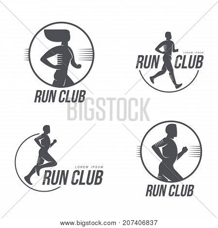 Sportive man, woman jogging, running marathon brand, logo design icon silhouette. Male, female adult character illustration with run club inscription. Isolated flat illustration on a white background.