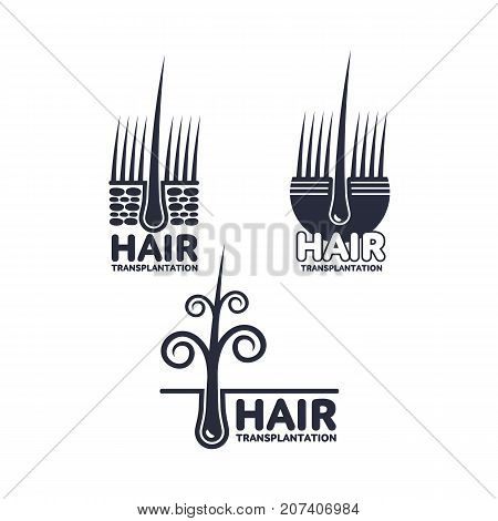 Set of hair transplantation logo, logotype templates, vector illustration isolated on white background. Hair loss treatment logos for medical hair transplantation centers showing deep epidermis layers