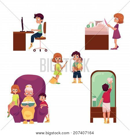 Children at home set - using computer, doing chore, looking after little sibling, listening to grandma reading, cartoon vector illustration isolated on white background. Kids, children home activities
