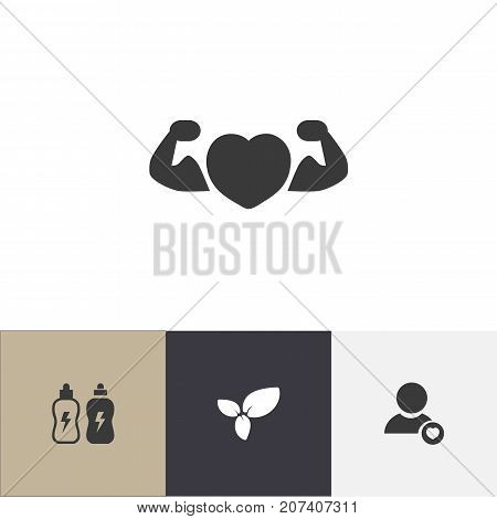 Set Of 4 Editable Training Icons. Includes Symbols Such As Strong Love, Energetic Beverage, Profile And More