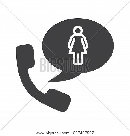 Phone talk about woman glyph icon. Silhouette symbol. Handset with girl inside speech bubble. Negative space. Vector isolated illustration