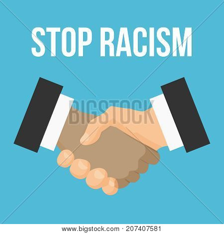 Stop racism flat icon. Black and white shaking hands. Friendship, global international business shake hand. Vector illustration isolated on a background. No to racism. Premium quality.