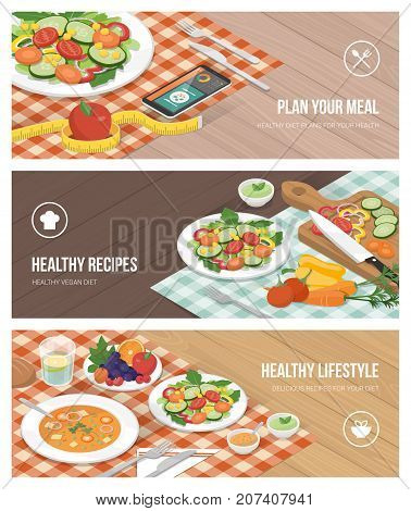 Healthy vegan food and dieting concept: food preparation diet planning app and lunch table