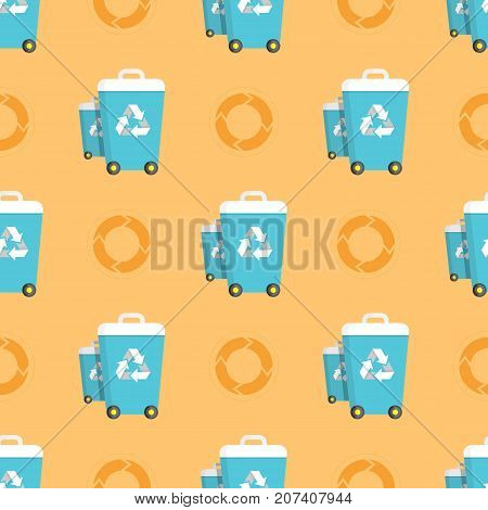 Seamless pattern with trash cans and recycling circles graphics of recycled waste process vector illustration. Clean environment protection concept wallpaper design