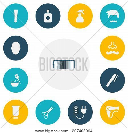 Set Of 13 Editable Coiffeur Icons. Includes Symbols Such As Hairbrush, Shear, Tube And More