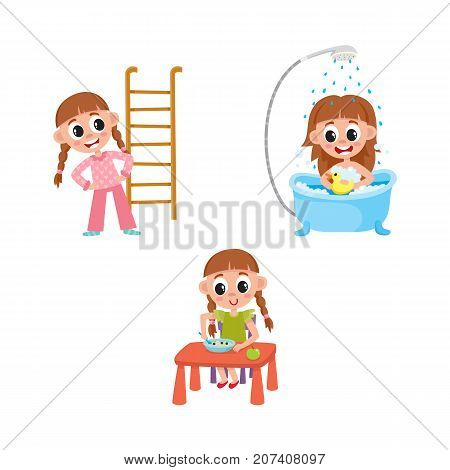 vector flat girl kid doing everyday routine activity set. Child washing in bathtub with duck toy, having breakfast, making physical exercises . Isolated illustration on a white background.