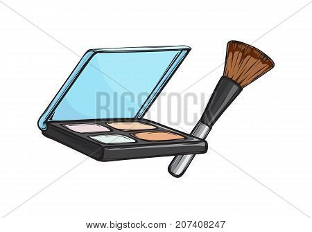 Black capsule with eyeshadows and brush isolated on background. Make up beauty tool vector illustration. Women face appliance to emphasize eyes . Compact cosmetic for bright look.