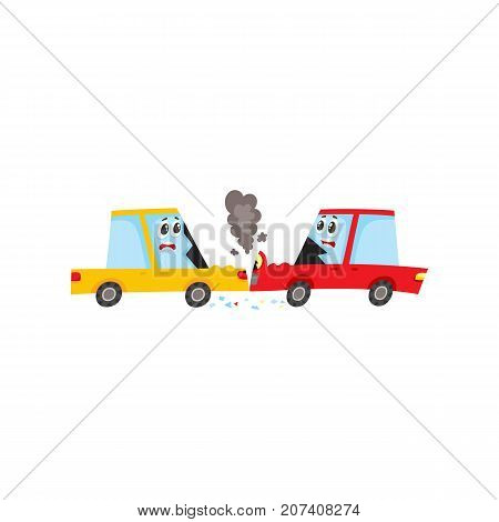 vector flat cartoon car characters with face, emotions crash in head-on collision, accident. Both have dents, broken glasses, scratches and smoke from hood. Isolated illustration on a white background