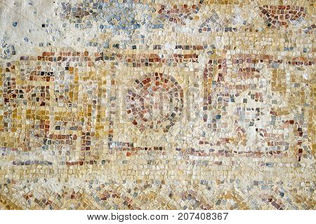 Strange pattern from a mosaic on the floor in the Nabatean city of Mamshit (Israel, 1st century BC)