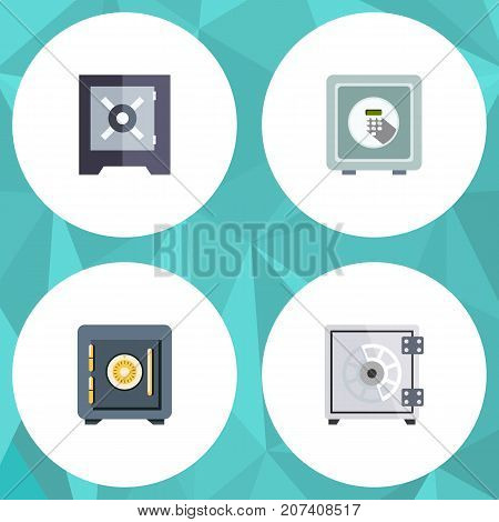 Flat Icon Safe Set Of Safe, Security, Saving And Other Vector Objects