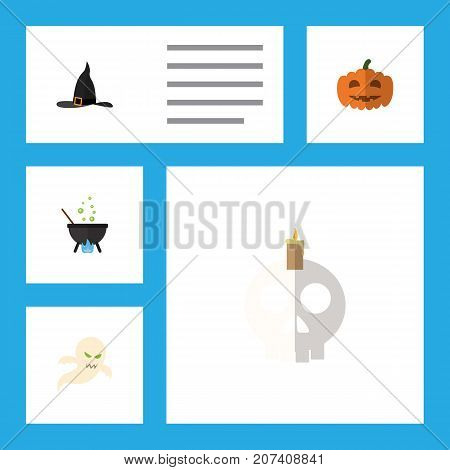 Flat Icon Halloween Set Of Magic, Cranium, Witch Cap And Other Vector Objects