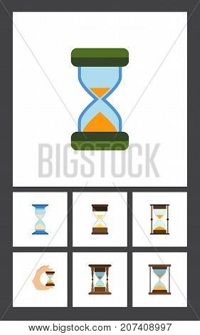 Flat Icon Sandglass Set Of Sand Timer, Sandglass, Waiting Vector Objects