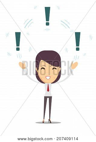 Woman with a exclamation mark. Stock flat vector illustration.