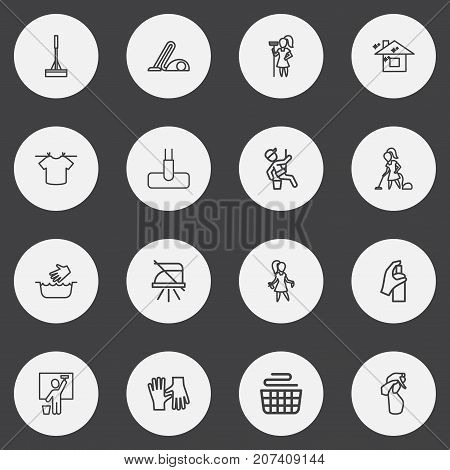 Set Of 16 Editable Cleanup Outline Icons. Includes Symbols Such As Cleanser, Window Cleaner, Gloves And More