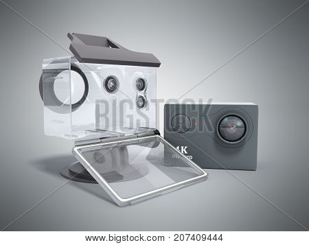 Camera Action Cam 3D Render On A Grey Background