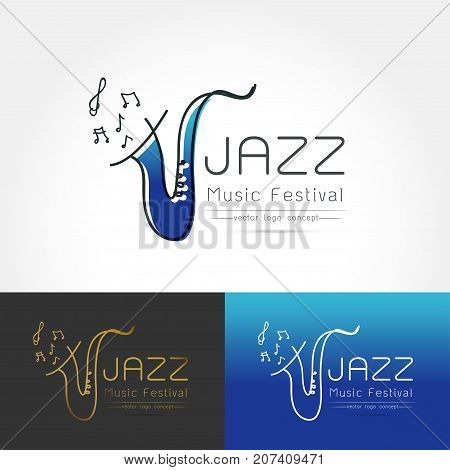 Modern linear thin flat design. The stylized image of saxophone. Jazz music festival logo Template for covers logo posters invitations on white background Vector illustration