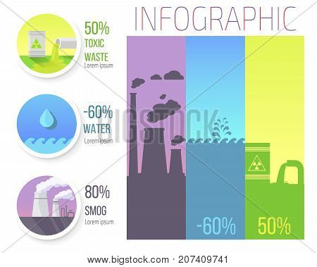 Toxic waste, water level decreasing and smog emissions infographic with numbers in percentages and isolated vector illustrations.