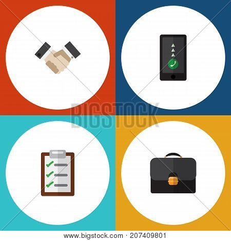 Flat Icon Life Set Of Briefcase, Questionnaire, Partnership And Other Vector Objects