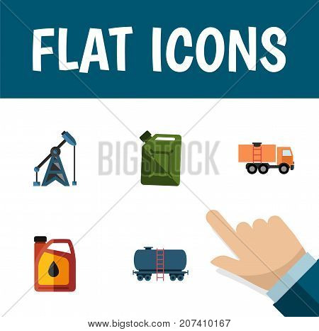 Flat Icon Oil Set Of Rig, Jerrycan, Van And Other Vector Objects
