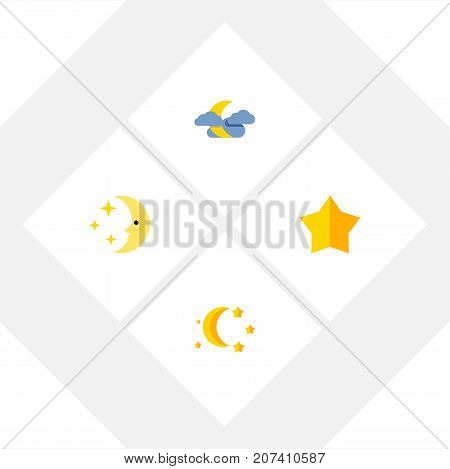 Flat Icon Night Set Of Bedtime, Starlet, Midnight And Other Vector Objects
