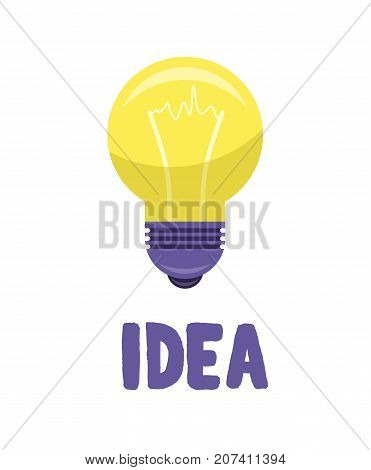 Yellow bulb isolated on white presenting idea concept. Vector illustration of lighting equipment with meaning of new thought