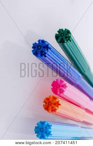Color Felt-tip Pens On White Background