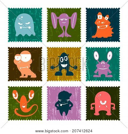 Set of retro postage stamp with funny monsters. Vector set illustration