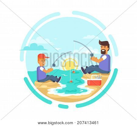 Funny fishing day poster with father and son catching fish on seaside at sunset vector illustration. Dad and his little boy spending time together