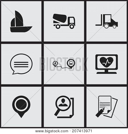 Set Of 9 Editable Complicated Icons. Includes Symbols Such As Search, Heart Rhythm, Yacht And More