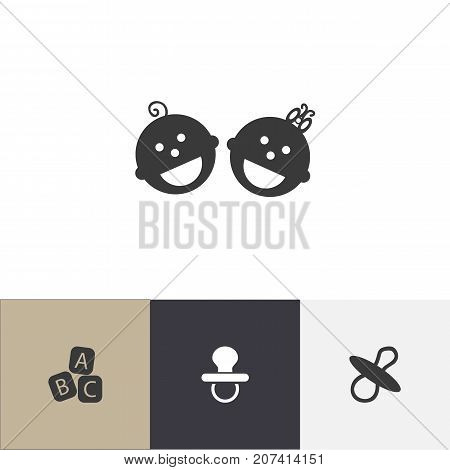 Set Of 4 Editable Baby Icons. Includes Symbols Such As Alphabet Cubes, Pacifier, Soothers And More