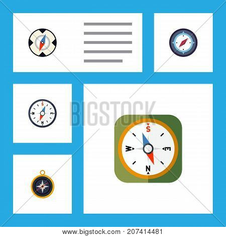 Flat Icon Orientation Set Of Instrument, Magnet Navigator, Compass And Other Vector Objects
