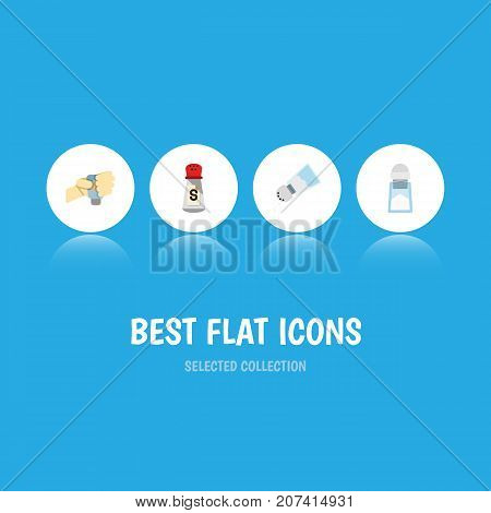 Flat Icon Flavor Set Of Flavor, Saltshaker, Condiment And Other Vector Objects